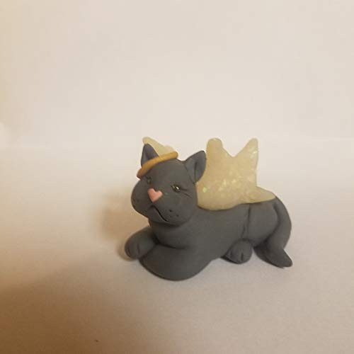 GRAY CAT Angel CHRISTMAS ORNAMENT Pet Memorial Christmas Lights Hand Made Polymer Clay OOAK