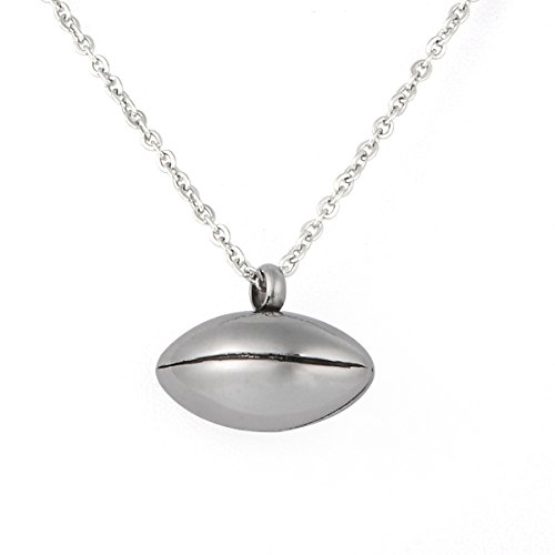 Valyria Cremation Jewelry Stainless Steel Ball Urn Pendant Keepsake Necklace with Personalized Engraving (Football) -