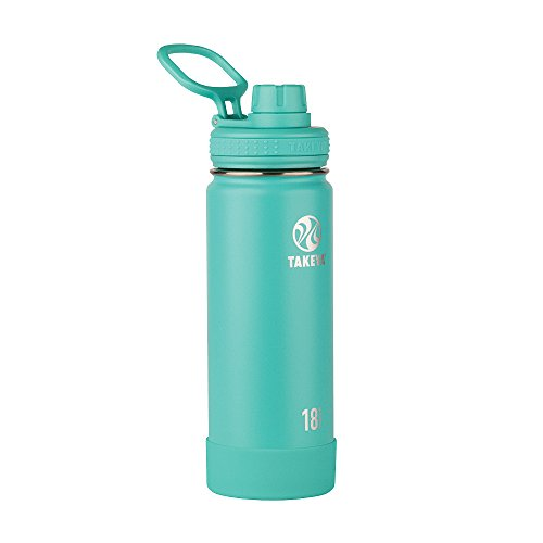 Takeya Actives Insulated Stainless Steel Water Bottle with Spout Lid, 18 oz, Teal