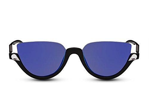 Cheapass Lunettes de Soleil Rondes noires marron Lunettes de soleil designer reflétées UV-400 verres-hipster Femmes Hommes Noir2