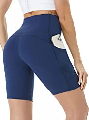 Siahk Athletic Yoga Shorts with Pockets, High Waist Fitness Workout Running Shorts for Women