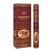 Sandal Incense Sticks - Incense Sandalwood, 120 Sticks in a Six Pack. HEM Brand, Hand Rolled in India.