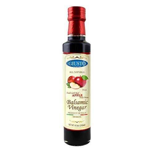 Giusto Sapore All Natural Apple Balsamic Vinegar of Modena P.G.I. - 8.5oz - Made with Real Apple Fruit Puree - Imported from Italy and Family Owned