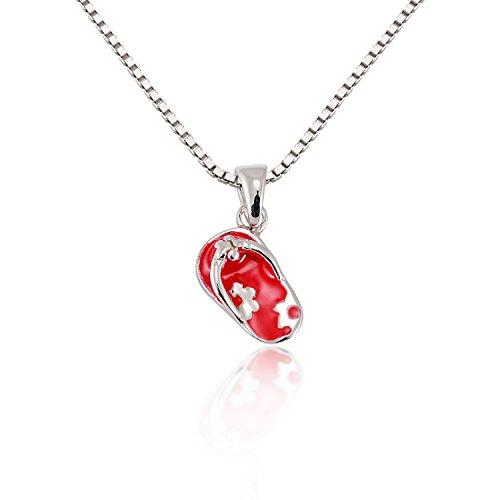 Chuvora Sterling Silver Pink Flower Flip Flop Beach Shoes Sandal Pendant Necklace ()
