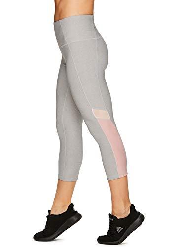 RBX Active Women's Colorblock Mesh Running Yoga Capri Leggings S.19 Grey S