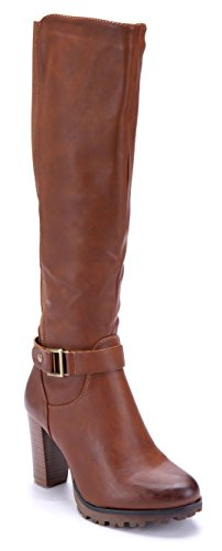 Schuhtempel24 Damen Schuhe Klassische Stiefel Stiefeletten Boots Trichterabsatz 8 cm Camel