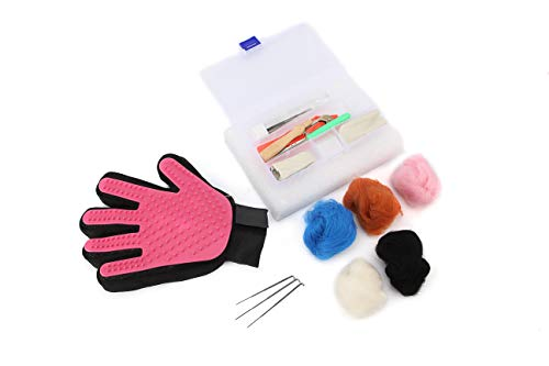 Needle Felting Kit Maytree&Monkey Cat & Dog Felting Tools Starter Kit Multi Tool - Pet Glove,Finger Protectors,Needles,Wooden Handle,Scissors,Pad,Awl,Holder,5 Color Wool Make a Cute Miniature Doll