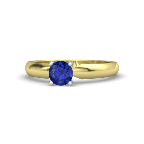- Round Sapphire 14K Yellow Gold Engagement Ring â€
