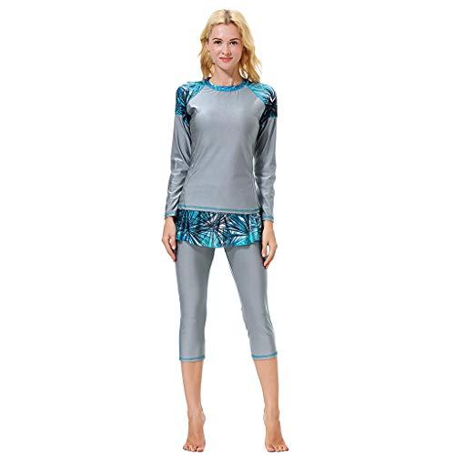 d51223a22c5 Alangbudu Women Full Body Swimsuit Rash Guard Three Piece Long Sleeve Half  Leg Swimwear Swimdress with UV Sun Protection Gray