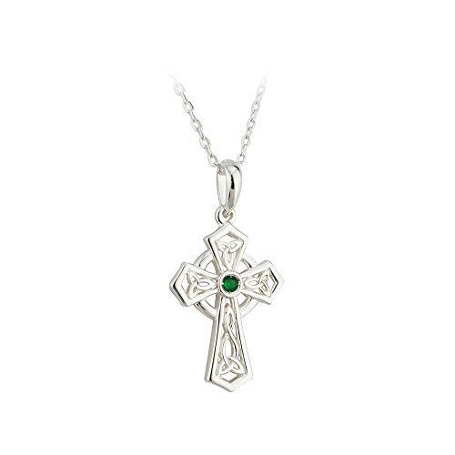 (Biddy Murphy Failte Celtic Cross Necklace Sterling Silver and Green Crystal Made in Ireland)
