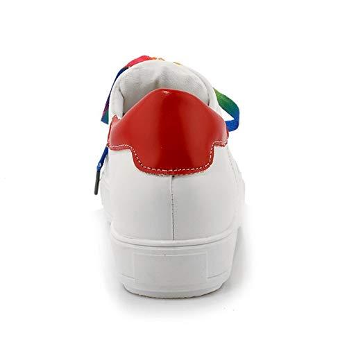 Primavera ZHZNVX Caminar Plano Rojo y Red Zapatos para Blanco Zapatos de Poliuretano de Verde Tacón Punta de Verano Mujer Zapatillas Deporte PU Redonda z6rzq