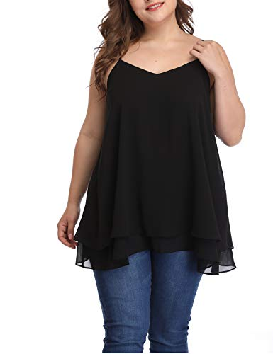 3X Long Women Plus Size Camis Adjustable Layered Camisoles Sweetheart Tank Tops Black