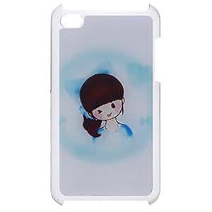 CL - Estilo de dibujos animados lindo de la muchacha con un caso del patrón duro epoxi Cola de caballo para el iPod Touch 4