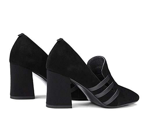 Shoes Single Semplice Leather Spring Round Donna Scrub Head Shiney Versatile Chunky Heel Women's 2018 Nero Black High qOnY5XwEx
