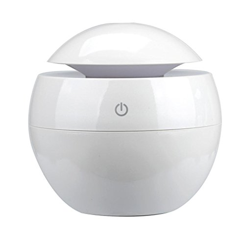 Air Humidifiers, LED Aroma Ultrasonic Humidifier USB Essential Oil Diffuser Air Purifier (White)