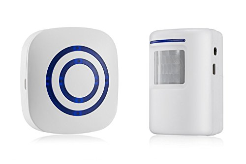 Raoes Wireless Detector Entry Doorbell PIR Alert : Infrared Motion Sensor Door Bell Alarm Chime with 1 Receiver and 1 Sensor -38 Chime Tunes - LED Indicators