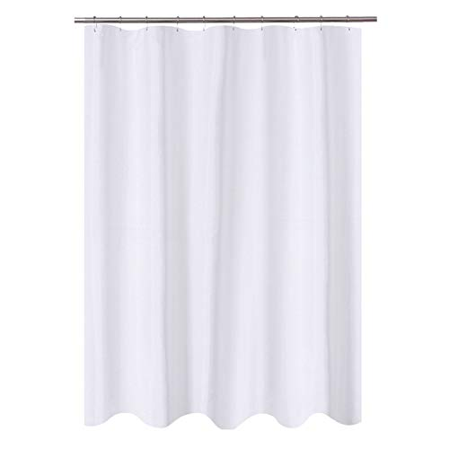N&Y HOME Fabric Shower Curtain Liner 60 x 72 inches Bath Stall Size, Hotel Quality, Washable, Water Repellent, White Bathroom Curtains with Grommets, 60x72