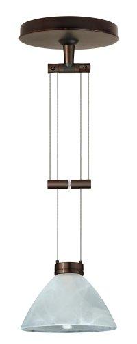 (Besa Lighting 1XA-174352-BR 1X50W Gy6.35 Domi Pendant with Marble Glass, Bronze Finish)