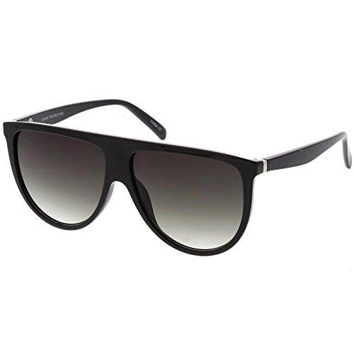 sunglassLA - Modern Oversize Flat Top Aviator Sunglasses With Neutral Color Flat Lens 59mm (Black / - Top Flat Glasses