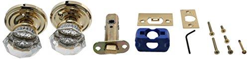 Emtek Products Crystal Knob - Emtek 8200-OT-US3 Old Town Clear Crystal Privacy Bed/Bath Door Knob, Regular Rosette, Polished Brass