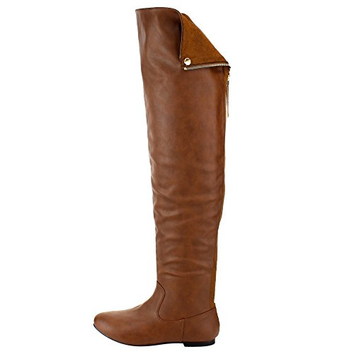 The Women Flat Half Over Knee Small FE61 Tan Size Boots Snap BREEZE Cuff Heel NATURE 8qZYwAEq