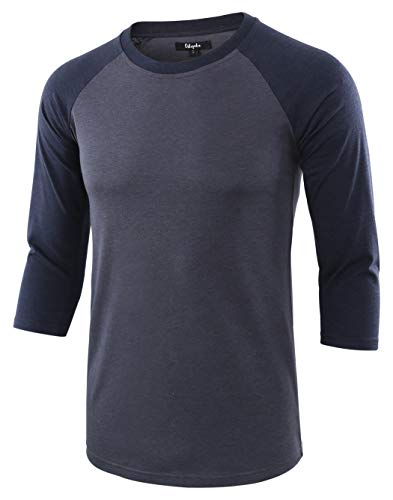 (Estepoba Men's Casual Basic Vintage 3/4 Raglan Sleeve Jersey Baseball Tee Shirt Cadet Blue/Navy L)