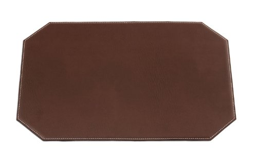 Dacasso Cut Corner Brown Leatherette Placemat, 17-Inch by 12-Inch