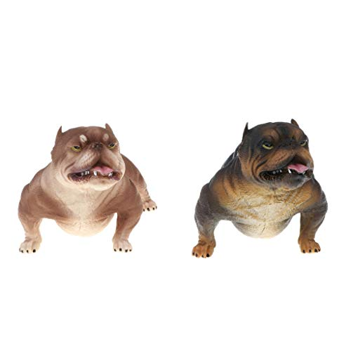 B Blesiya 2pcs Wild American Bully Pitbull Dog Animals Figure Toys Realistic Action Models Kids Educational Cognitive Statues Toy Home Decor #B