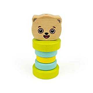 Bimi Boo Wooden Rattle - Wooden Baby Toys - Wooden Teether - Organic Baby Toys (Natural Beech Wood, Safe Water-Based Paint)
