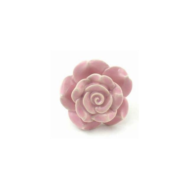 Pink Rose Ceramic Cabinet Knobs, Drawer Pulls & Handles Set/2 ~ K127 Hand Painted Vintage Ceramic Rose Knobs with Chrome Hardware for Dresser, Drawers, Kitchen Cabinets & Vanity   Cabinet And Furniture Knobs