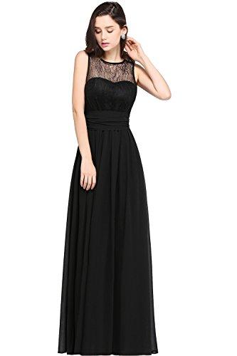 Babyonlinedress Vestido de chiffón larga para fiesta cuello redondo sin  mangas espalda semicubierta estilo A line ... 98e5d25610eb