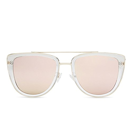 Quay Australia FRENCH KISS Womens Sunglasses Oversized All Occasions - Clear/Rose