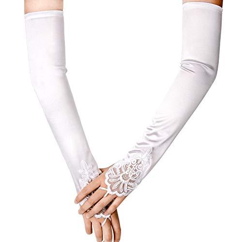 Elbow Length Satin Fingerless Gloves - SAVITA Fingerless Long White Gloves Pierced Elbow Length Satin Gloves 19