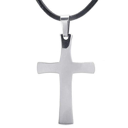 KONOV Stainless Pendant Necklace Leather
