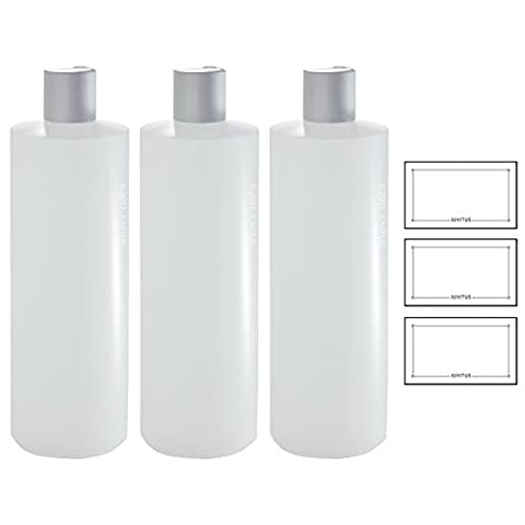 Clear Natural Refillable Plastic Squeeze Bottle with Silver Disc Cap - 16 oz (3 Pack) + Labels (16 Oz Plastic Cylinder Bottles)