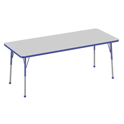 Blue Desk Leg - FDP Rectangle Activity School and Office Table (30 x 72 inch), Standard Legs with Ball Glides, Adjustable Height 19-30 inches - Gray Top and Blue Edge