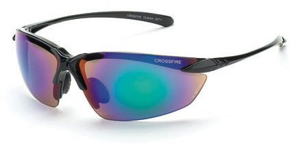 (12 Pack Crossfire 9610 Sniper Safety Glasses Emerald Mirror Lens - Shiny Black Frame)