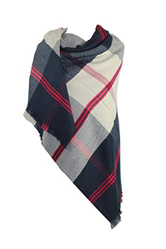 Achillea Women's Giant Check Plaid Cashmere Feel Blanket Scarf Large Winter Warm Square Shawl Wrap (Square Navy Red Check)