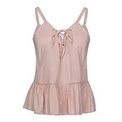 Rained Womens Summer Casual Sleeveless Tops Lace Flowy Loose Shirts Tank Tops Sexy V Neck Backless Camisole Cami Top Pink