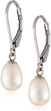 Freshwater Cultured Pearl Drop Earrings Sterling Silver Leverbacks 8mm