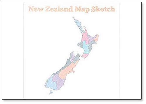 New Zealand Map Sketch Illustration Fridge Magnet (Outline Map Of Oceania Australia And New Zealand)