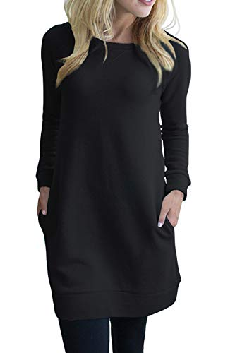 LuckyMore Ladies Boatneck Long Sleeve Casual Pullover Hoodie Sweatshirt Dress with Pockets Black M