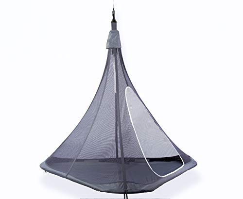 YardGlo Hanging Cocoon Tent, Floating Treehouse Hammock with Mesh for Kid's Adult Tensile Outdoor Swing Pod for Garden, Porch, Backyard and Indoor Use -Gray