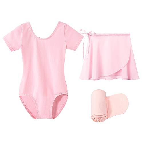 STELLE Short Sleeve Ballet Leotard with Dance Skirt and Dance Tight Combo (Ballet Pink, 85) (Dance Leotard 4t)