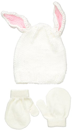 ABG Accessories Baby Girls' Bunny Chunky Knit Beanie with 3D Ears and Mitten Set, White, One (White Bunny Hat)