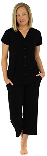 PajamaMania Women's Button-up Short Sleeve Capri Pajama Set (PMR1923-1011-LRG) (Sleeve Black Short Pajamas)