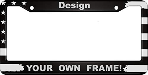 Personalized Patriotic American Flag Anodized Aluminum Custom Car License Plate Frame with Free caps (Black)