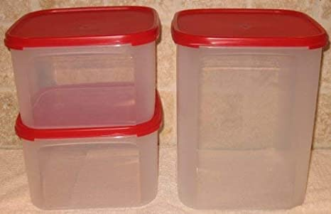 Amazon Com Tupperware Modular Mates Square 3pc Set Red Seal Kitchen Storage And Organization Product Sets