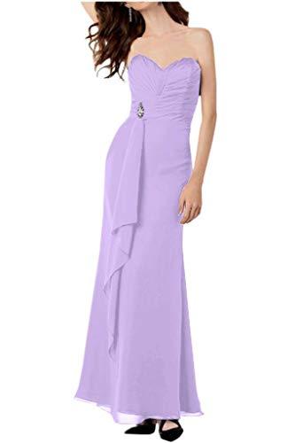 Brautjungfernkleider Abendkleider Herzausschnitt Partykleider Braut Traegerlos Lilac mia Linie A Chiffon La Lang Schwarz 8RnqIwC
