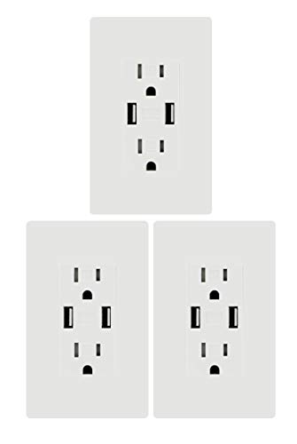 (High Speed USB Charger Outlet, 3.1A USB Wall Charger, Electrical Outlet with USB, 15A TR Receptacle with Wall Plate, for iPhone XS Max, Samsung Galaxy more, White (3.1A USB outlet)